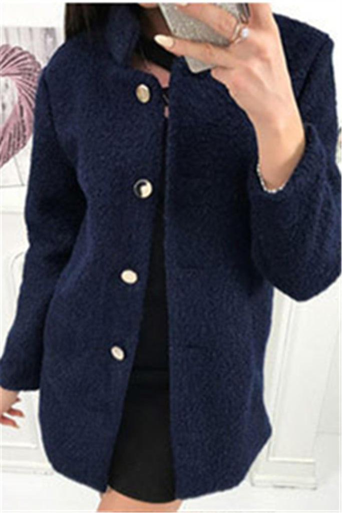 Button Up Long Sleeve Solid Color Winter Coat