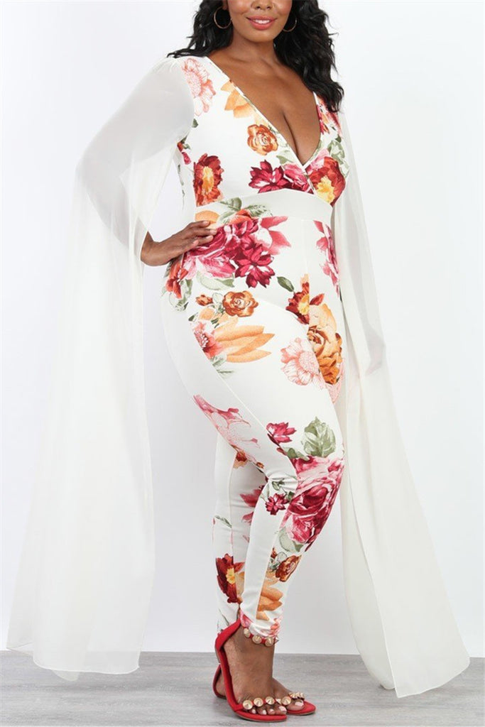 Cape Sleeve V Neck Flower Print Jumpsuit - WHATWEARS