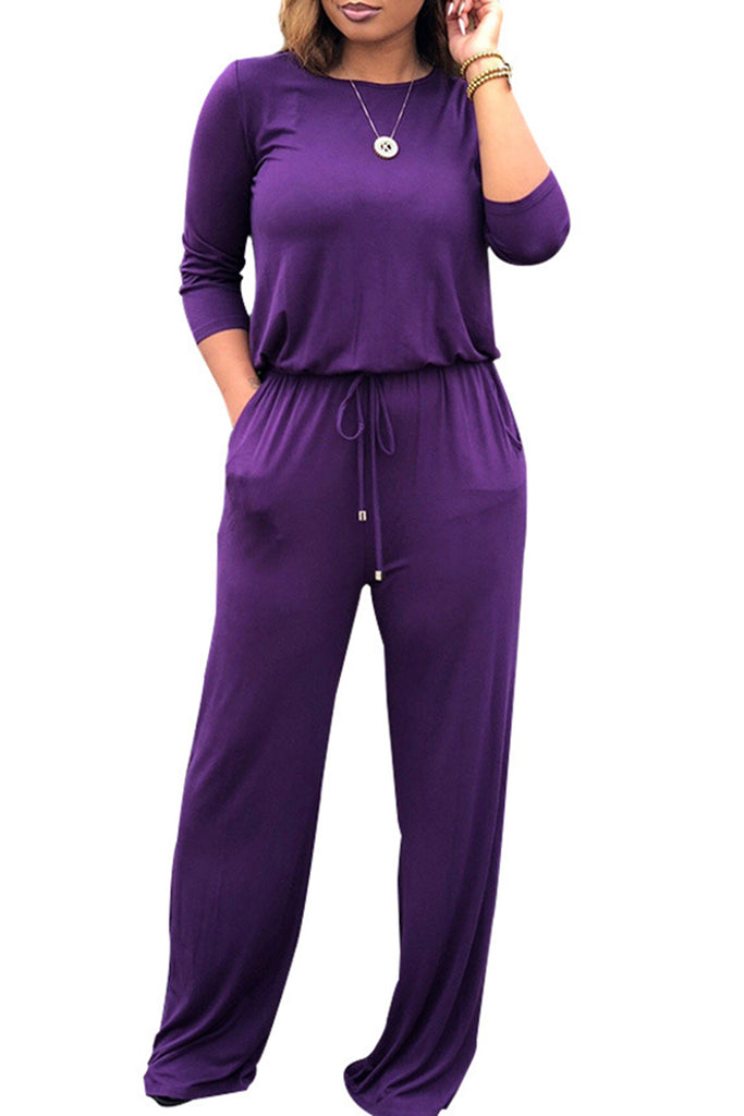 Casual Solid Color Long Sleeve Pocket Jumpsuit - WHATWEARS