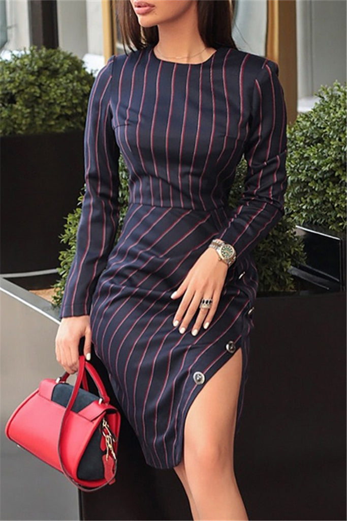Stripe Print Long Sleeve Button Slit Dress
