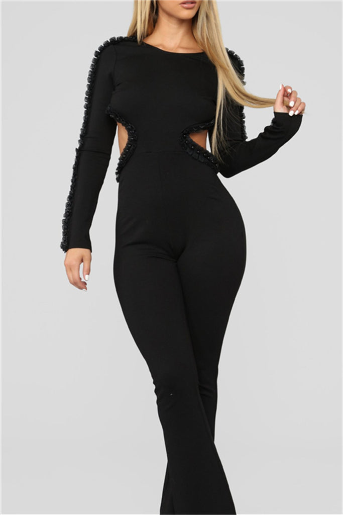 Faux Pearl Open Back Long Sleeve Sexy Jumpsuit