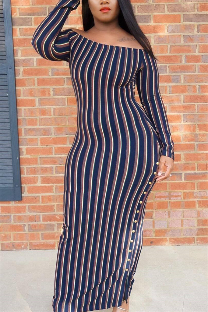 Off the Shoulder Long Sleeve Striped Maxi Dress