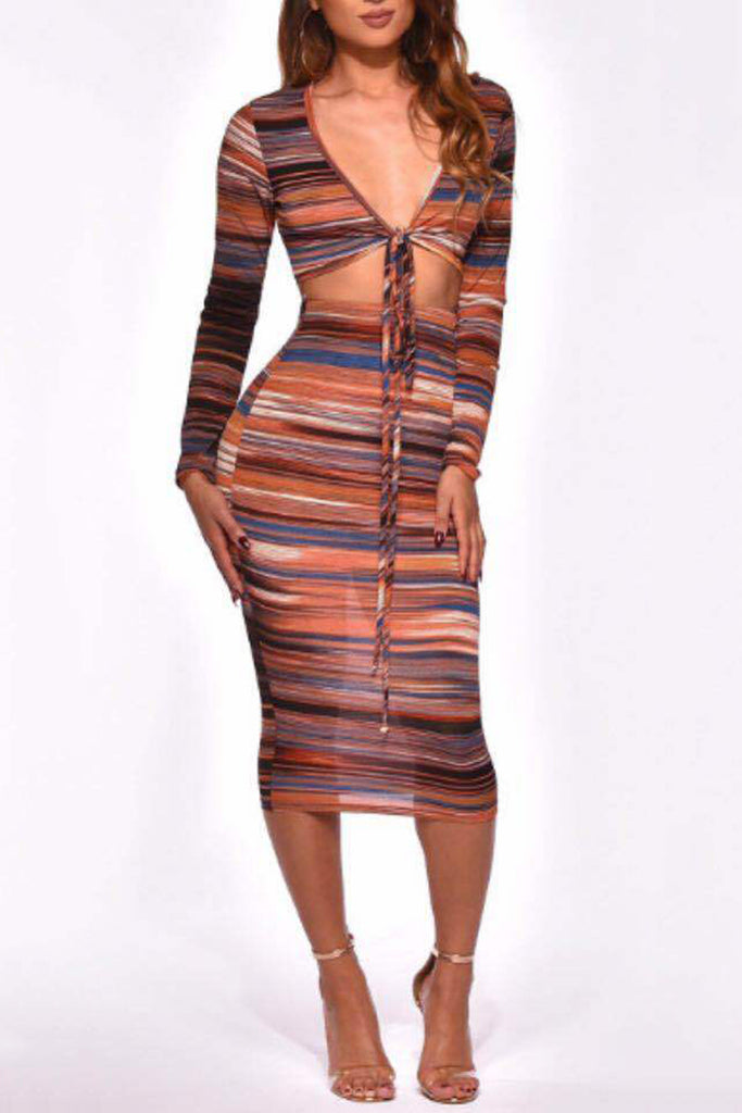 Mixed Color Stripe Knotted High Waist Two Piece Sets