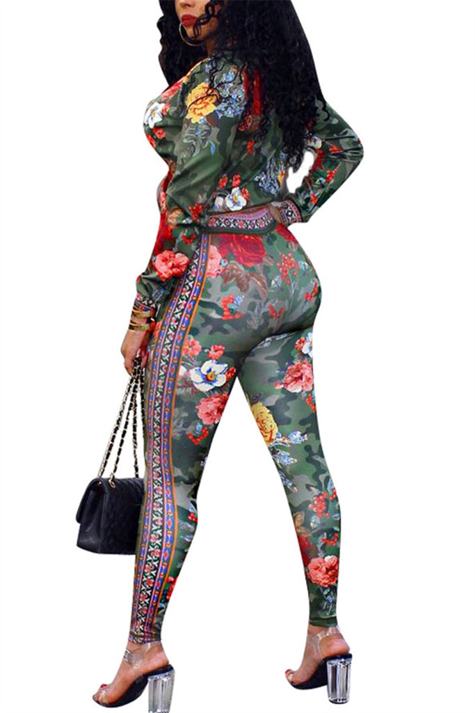 Flower Print Zip Up Casual Two Piece Sets