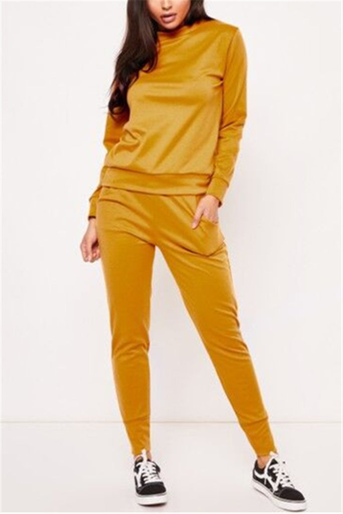 Solid Color Long Sleeve Pocket Casual Two Piece Sets