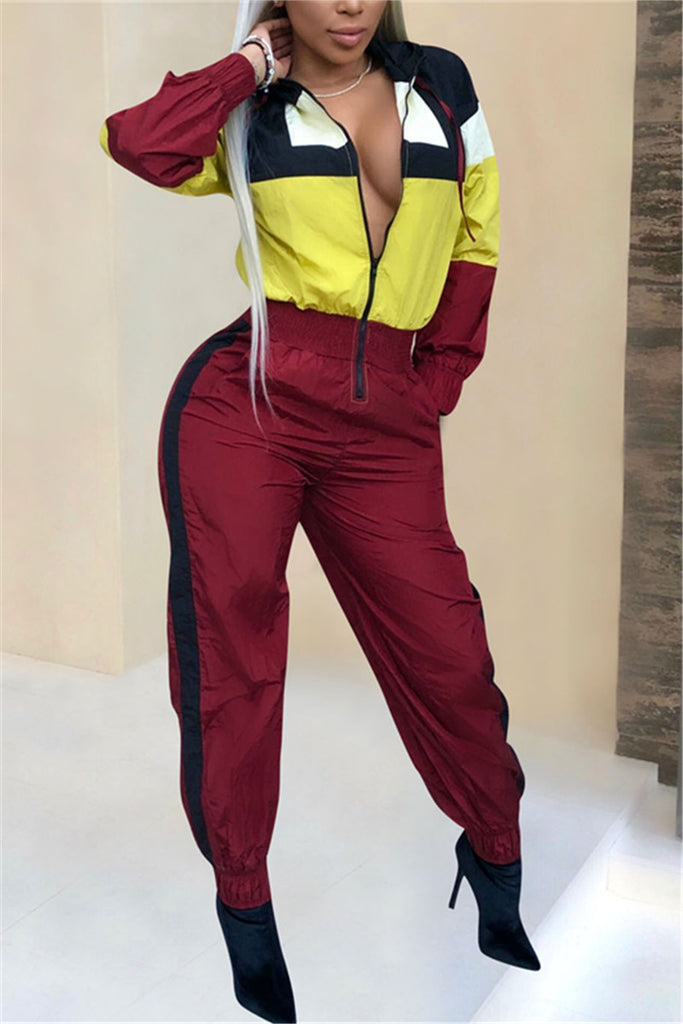 Color Block Zip Up Long Sleeve Casual Jumpsuit - WHATWEARS