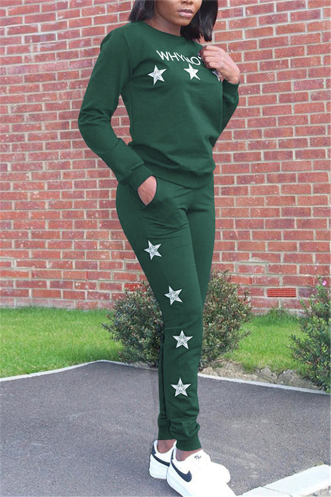 Star Embroidered Long Sleeve Casual Two Piece Sets