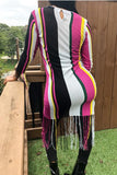 Tassels Stripe Print Long Sleeve Midi Dress