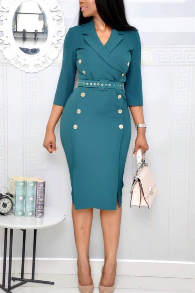 Three Quarter Sleeve Solid Color Belted Midi Dress