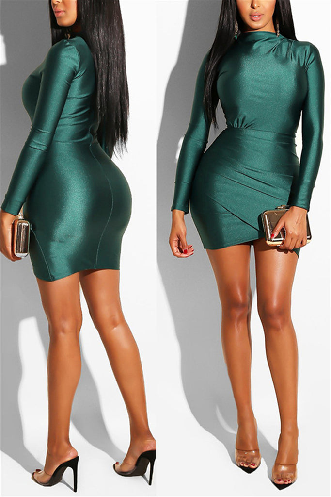 Solid Color Long Sleeve Ruched Mini Dress