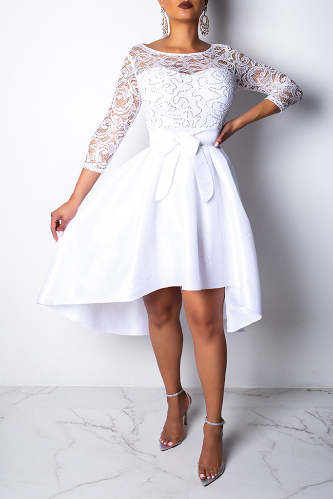 Irregular Hem Lace Solid Color Party Dress With Belt
