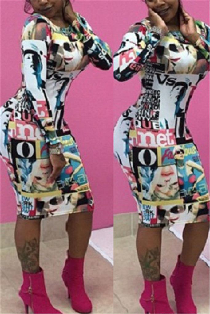 Magazine Print Long Sleeve Bodycon Dress