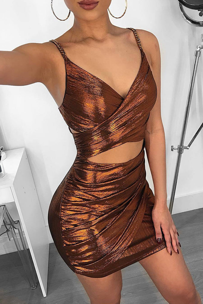 Metallic Color Criss Cross  Sleeveless Mini Dress