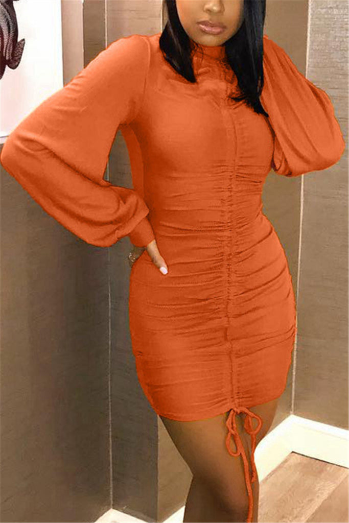 Lantern Sleeve Solid Color Drawstring Mini Dress