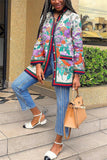 Button Up Flower Print Pocket Coat - WHATWEARS