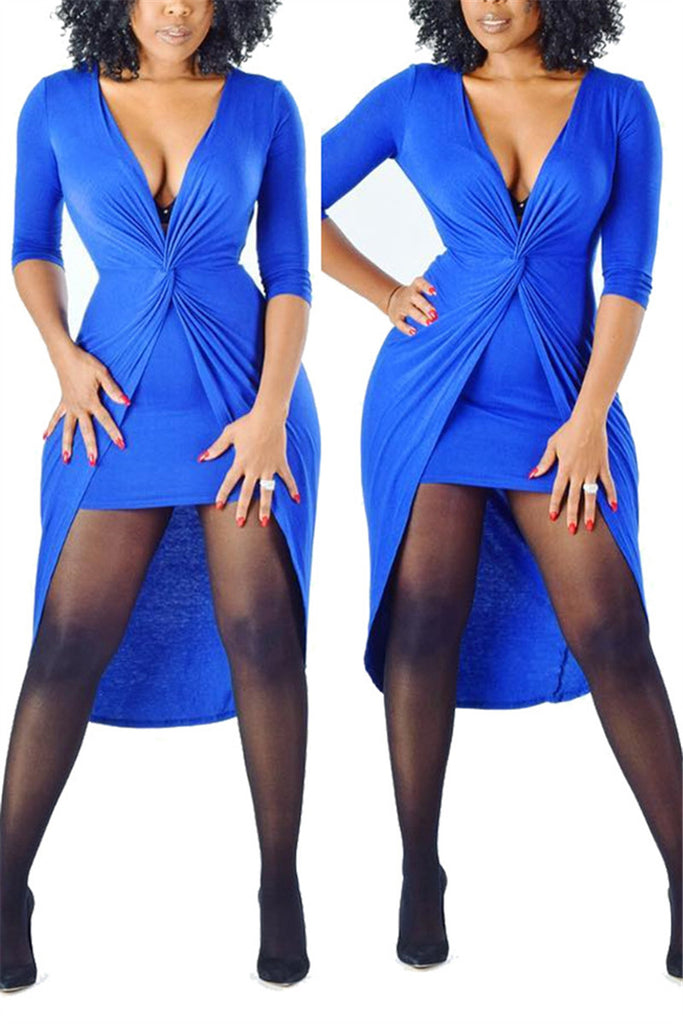 4d0251bc5f V Neck Long Sleeve High Low Dress – WHATWEARS