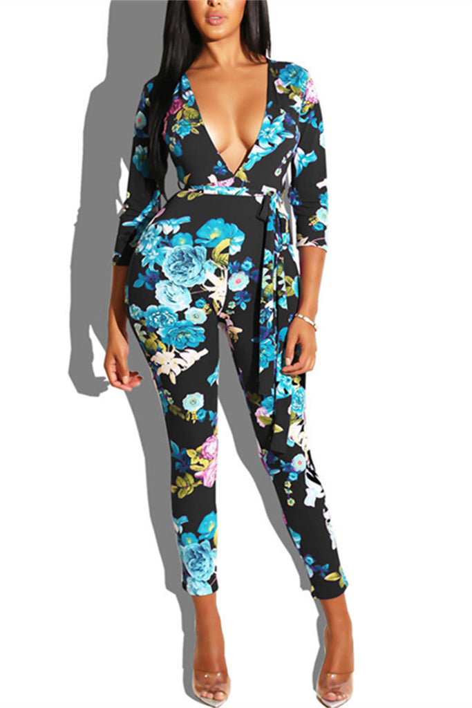 Plunging Neckline Flower Print Long Sleeve Sexy Jumpsuit