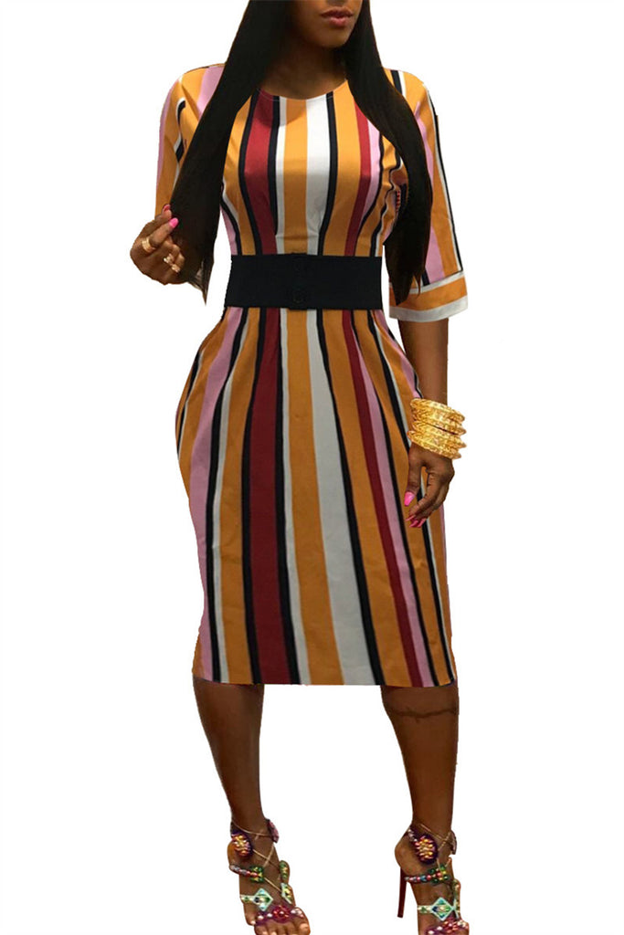 Stripe Print Half Sleeve Midi Dress