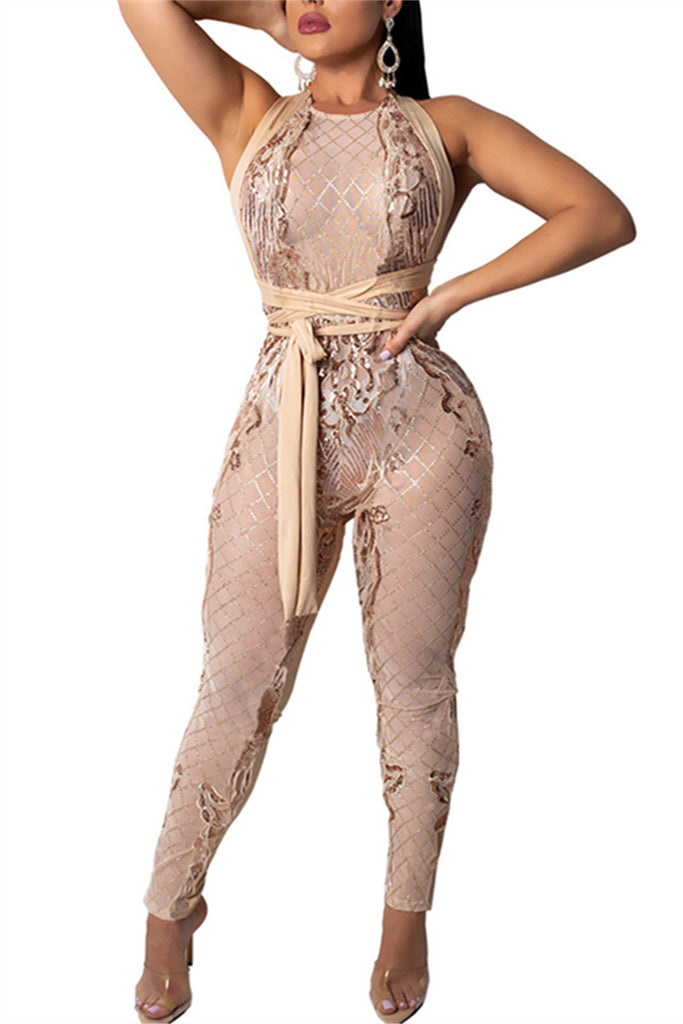 Open Back Semi Sheer Sleeveless Sexy Jumpsuit