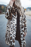 Pocket Leopard Print Long Sleeve Casual Coat
