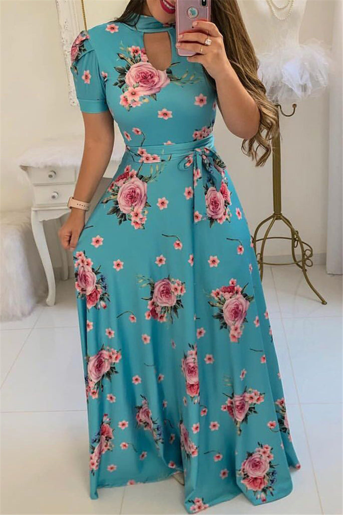 Keyhole Neckline Flower Print Maxi Dress