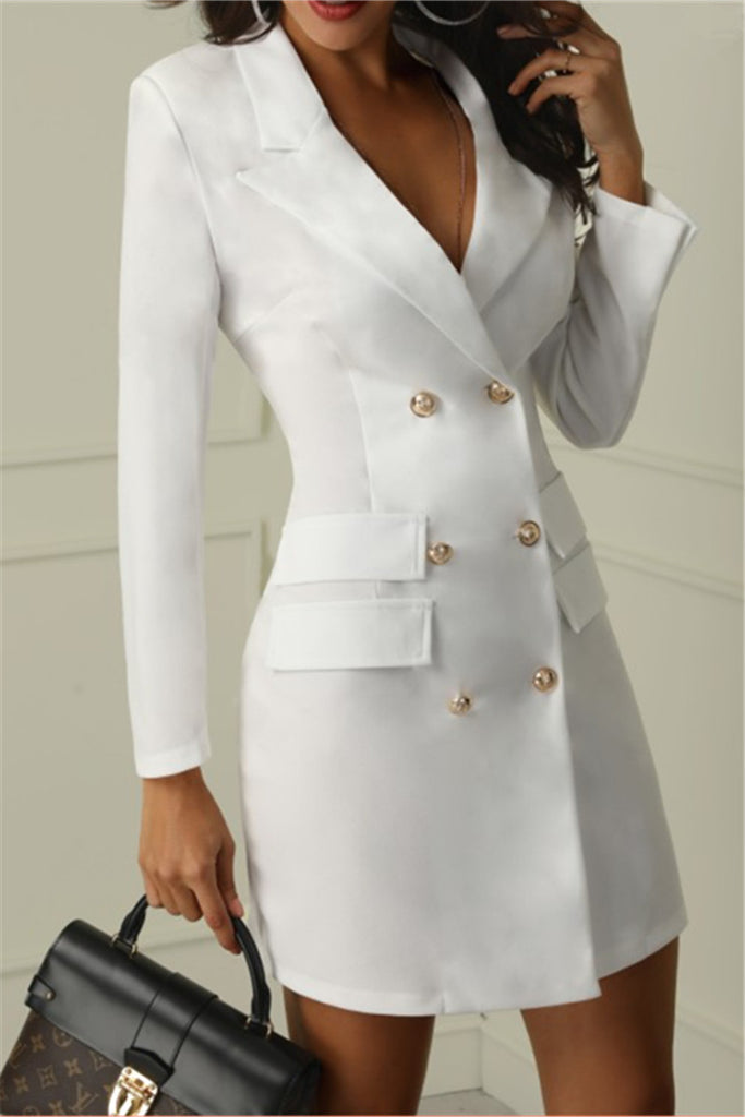 Button Up Long Sleeve Solid Color Blazer Dress