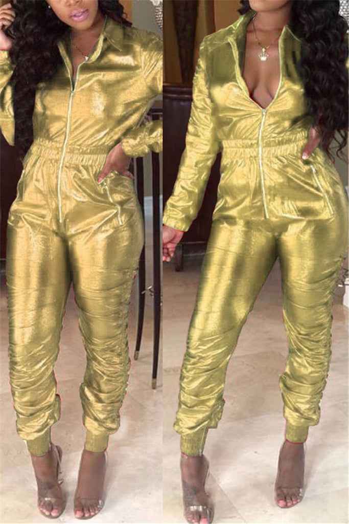 Zip Up Long Sleeve Solid Color PU Jumpsuit