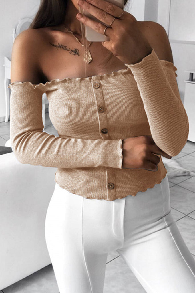 Button Off The Shoulder Solid Color Casual Shirt