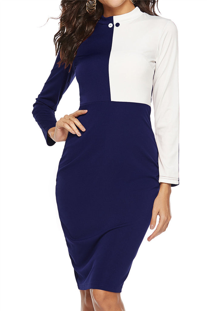 Color Patchwork Long Sleeve Pencil Dress