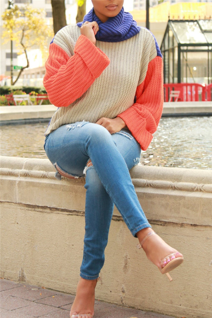 Turtleneck Color Patchwork Long Sleeve Sweater
