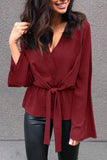 Chiffon Front Knotted V-Neck Flare Sleeve Blouse