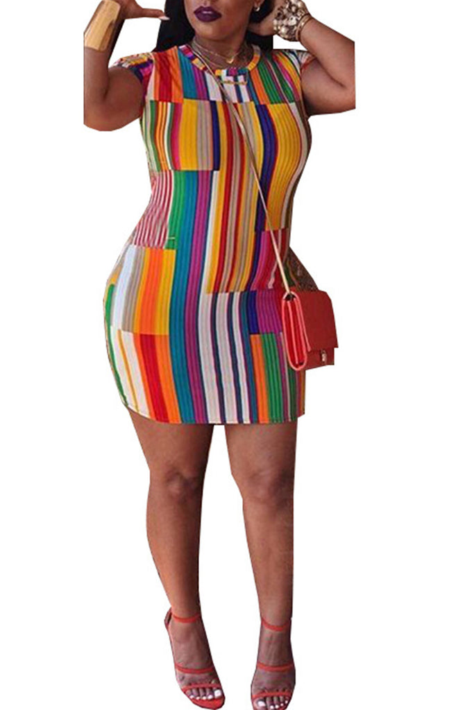 Mixed Color Stripe Printed Short Sleeve Dress