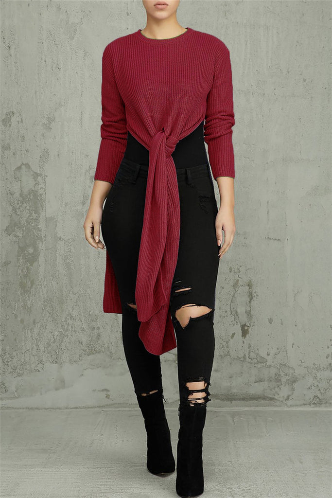 High Slit Solid Color Long Sleeve Sweater