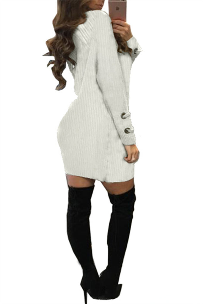 Lace Up Neckline Long Sleeve Solid White Dress