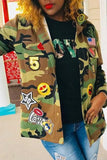 Appliques Camouflage Print Button Up Jacket
