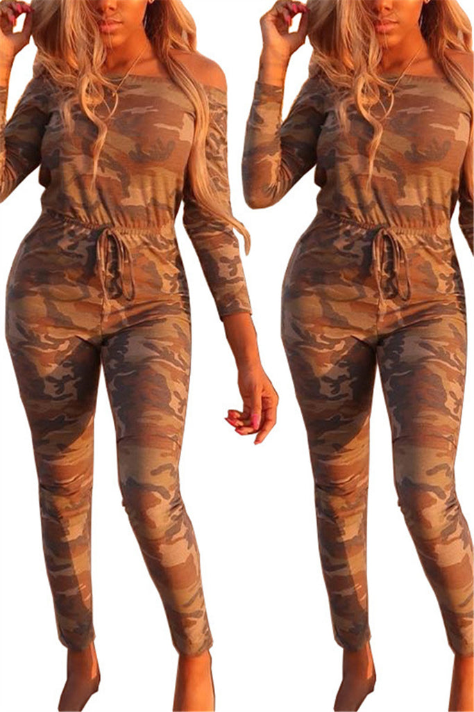 Camouflage Off the Shoulder Drawstring Waist Jumpsuit