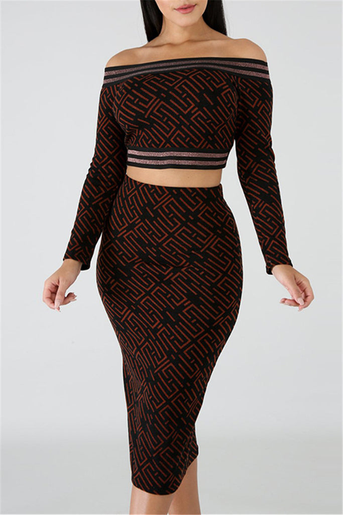 Off the Shoulder Long Sleeve Printed Two Piece Dress