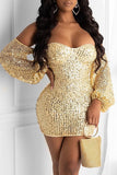 Sequins Off The Shoulder Lantern Sleeve Dress