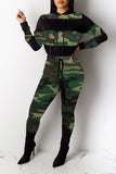 Camouflage Block Drawstring Waist Two Piece Sets