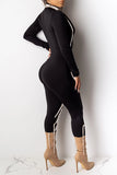 Decorative Edge Zipper Up Jumpsuit