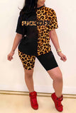 Leopard Color Block Plus Size Top & Shorts