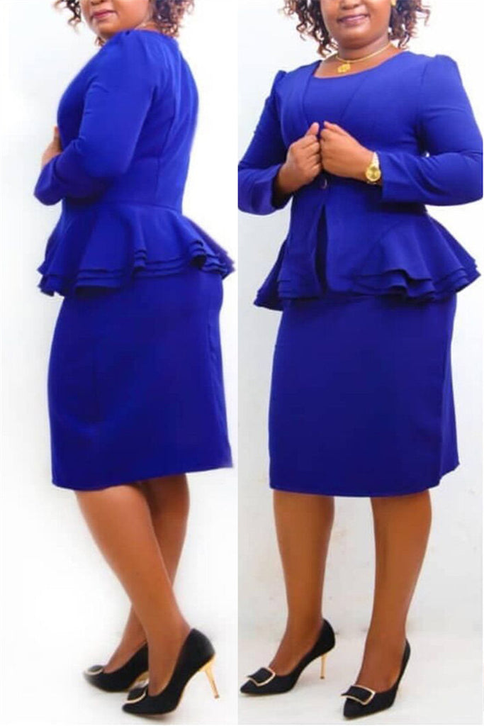 Ruffle Hem Solid Color Blazer & Dress
