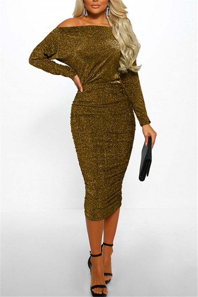Skew Neck Batwing Sleeve Solid Color Midi Dress