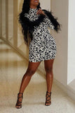 Feather Splicing Leopard Print Mini Dress