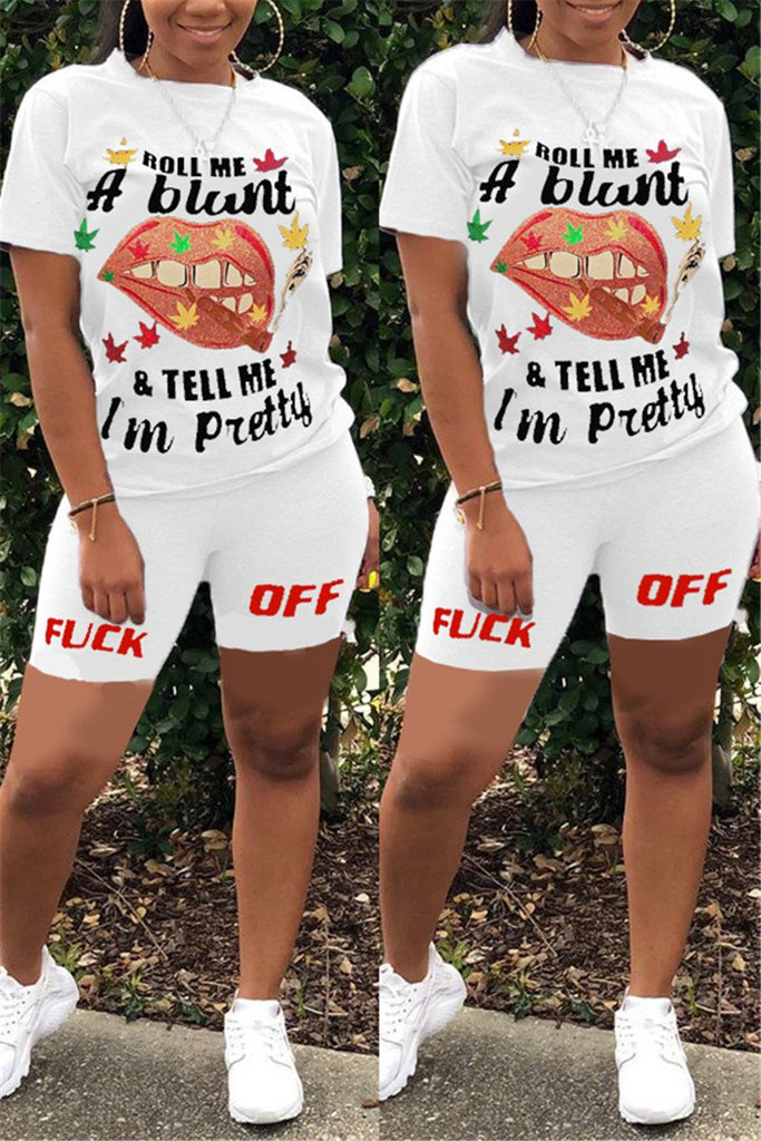 Letter & Lip Print Short Sleeve Two Piece Sets
