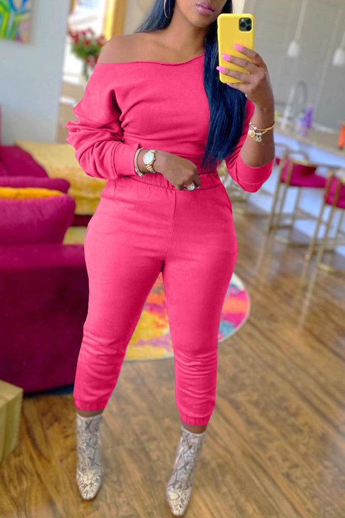 Skew Neck Long Sleeve Two Piece Sets