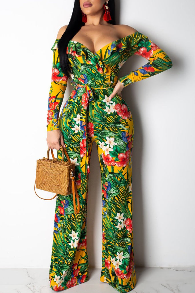 Off The Shoulder Print Belted Ruffled Jumpsuit