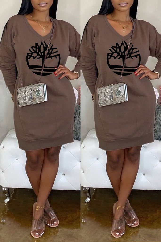 Offset Printing V-neck Casual Mini Dress