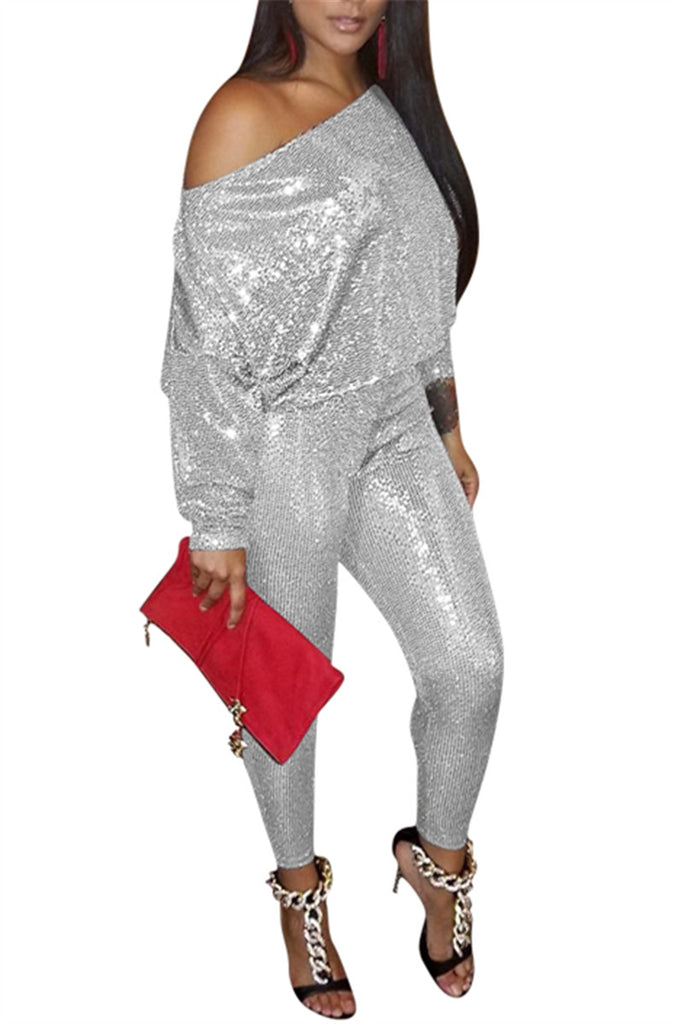 Sequined Skew Neck Long Sleeve Casual Two Piece Outfits