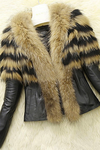 Faux Fur and Leather Jacket фото